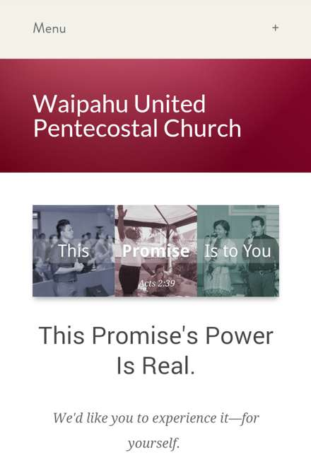 Screenshot of Waipahu United Pentecostal Church's website on a smartphone-like screen