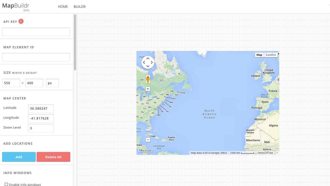 Screenshot of MapBuildr (beta) website