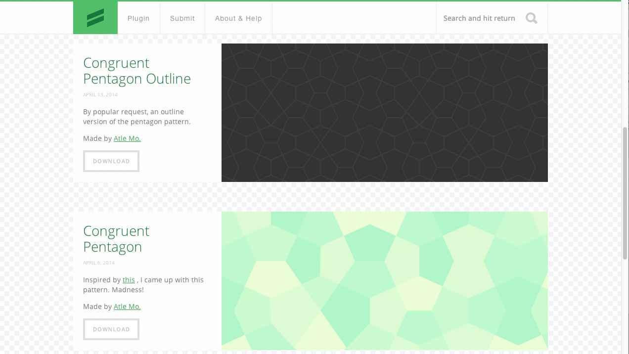 Screenshot of Subtle Patterns website