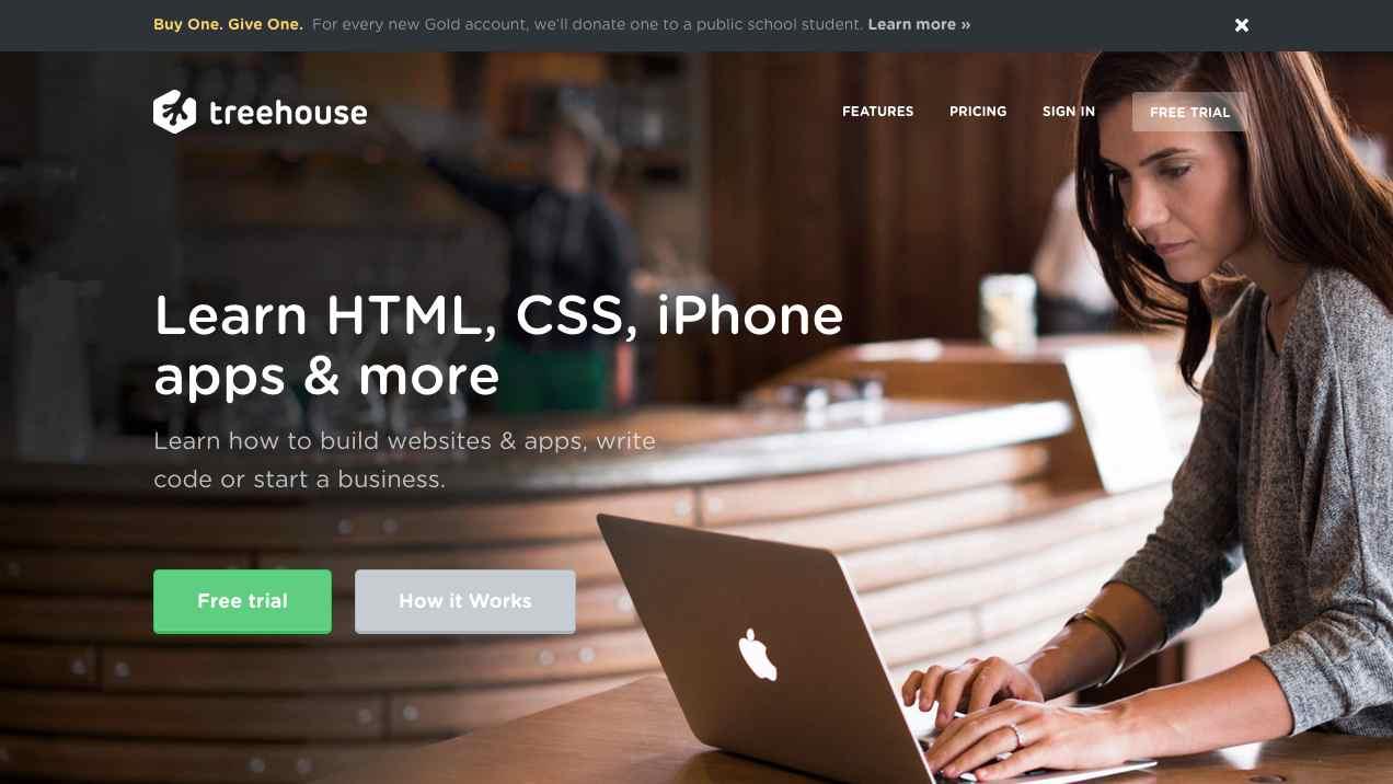 Screenshot of Treehouse website