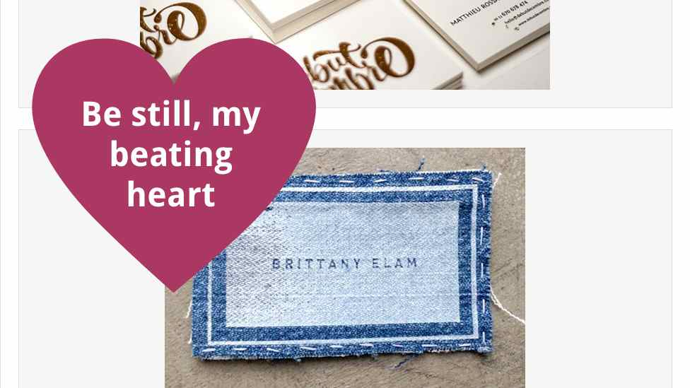 Screenshot of business card post with a heart