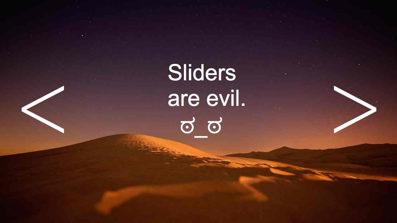 Slider example with message that they're evil.