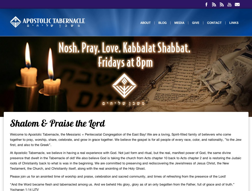 Screenshot of Apostolic Tabernacle's website designed by Stephen Thompson at Code Flowed