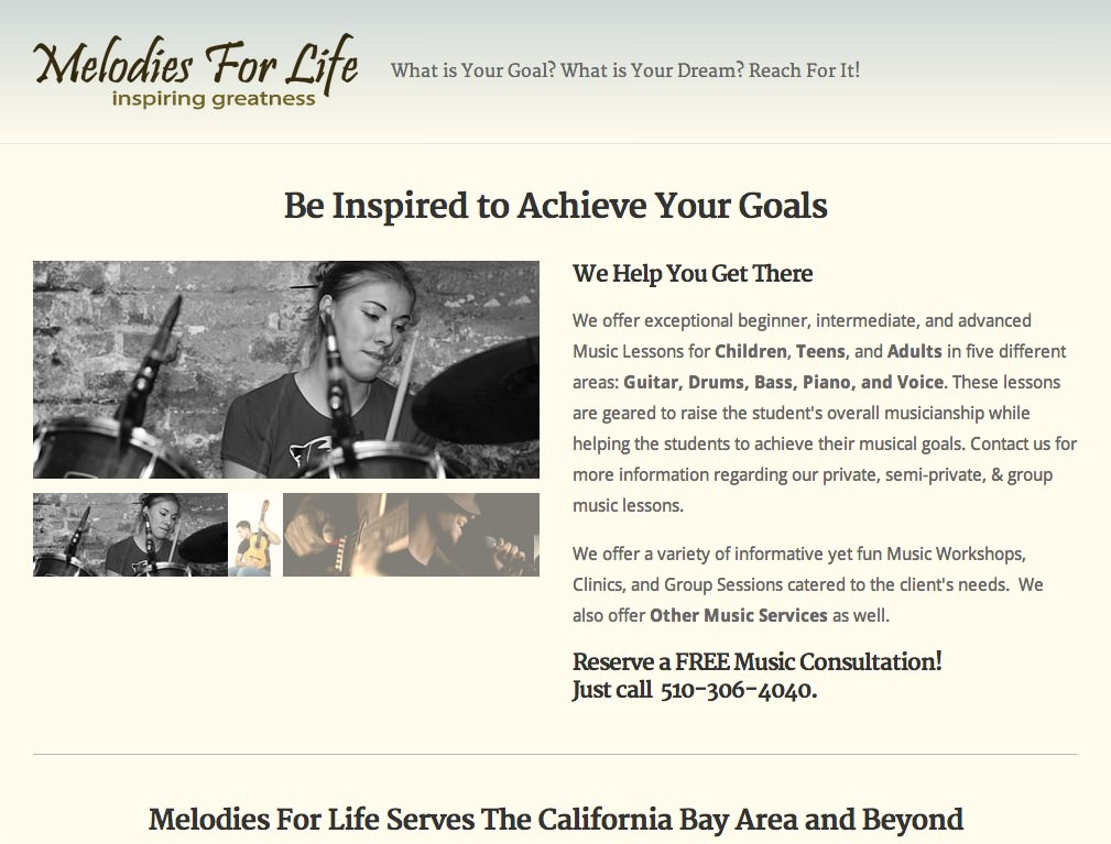 Screenshot of Melodies For Life's website designed by Stephen Thompson at Code Flowed