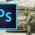 Photoshop logo on a photo of pit crew