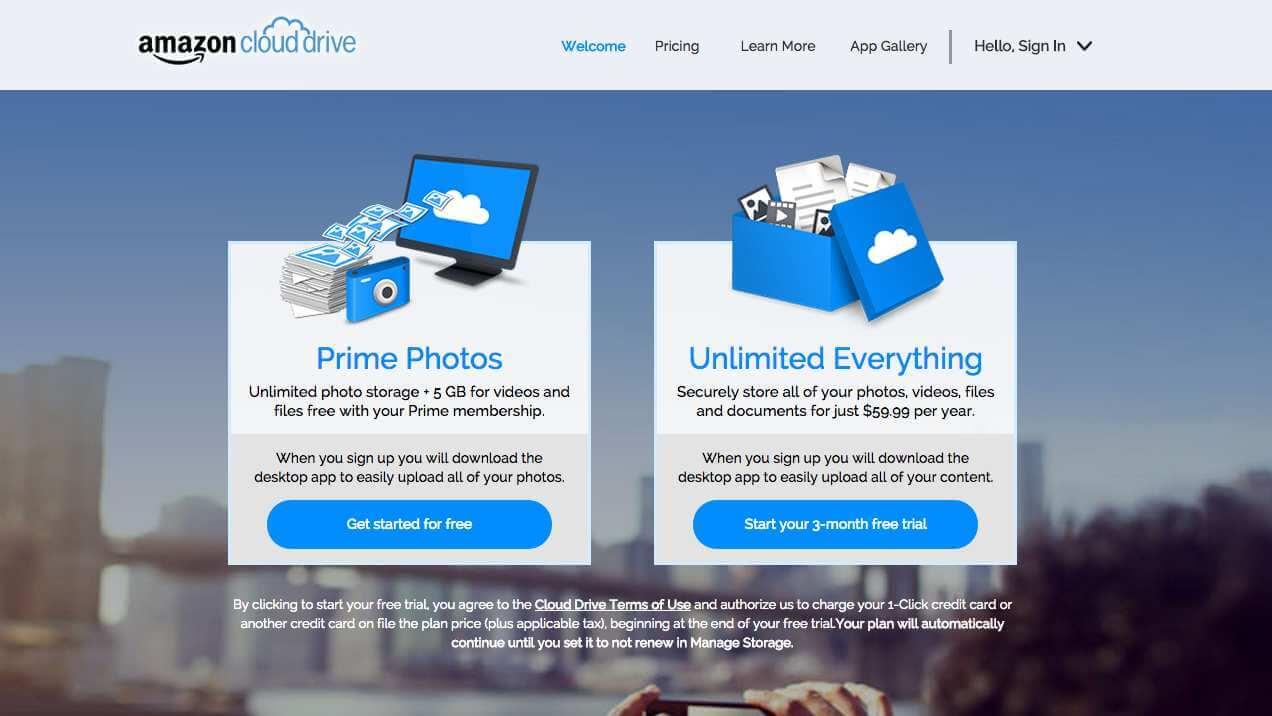 Screenshot of Amazon Cloud Drive website