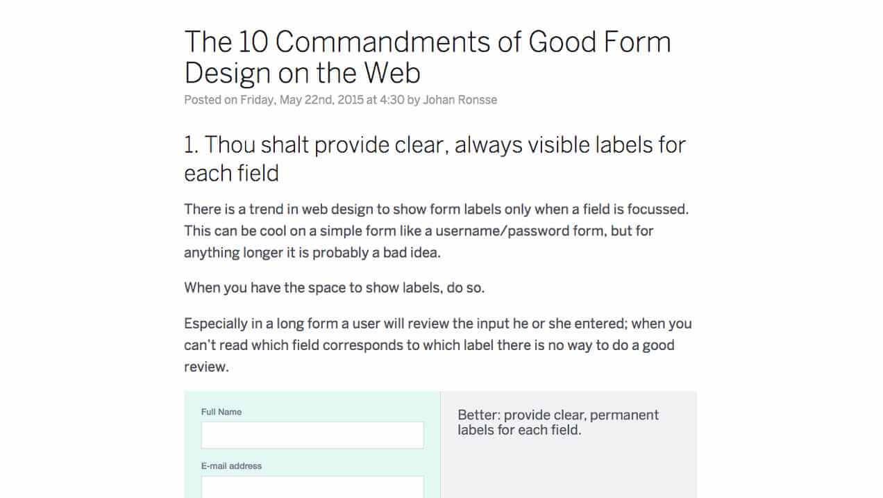 Screenshot of form design blogpost