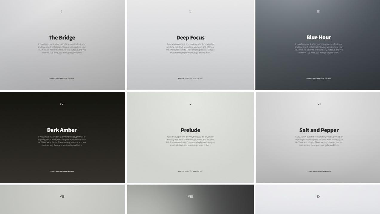 Screenshot of gradients