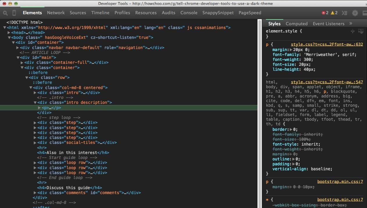Screen Shot of Dark Chrome DevTools