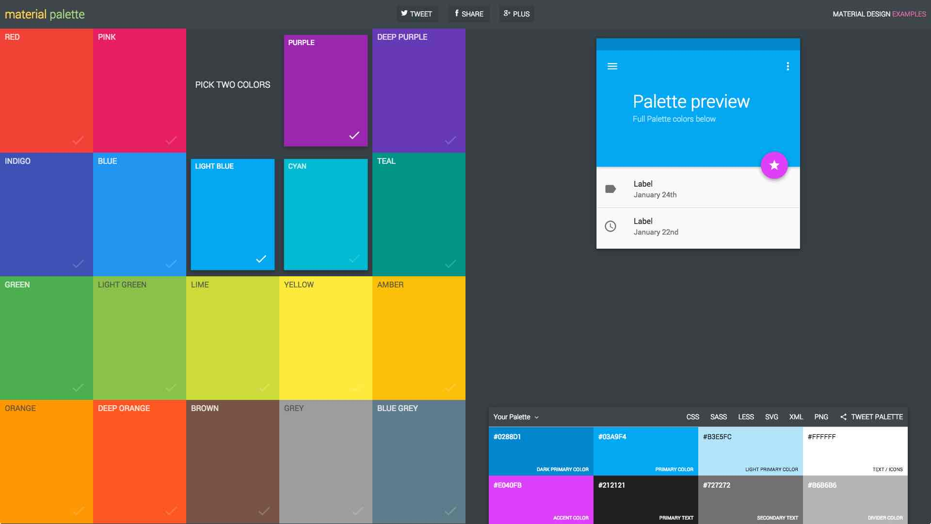 Colors from Google's Material Design