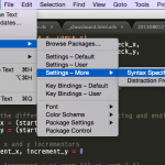 Screen Shot of Sublime Text preferences menu